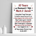 10th Wedding Anniversary Gift For Husband or Wife Print Keepsake