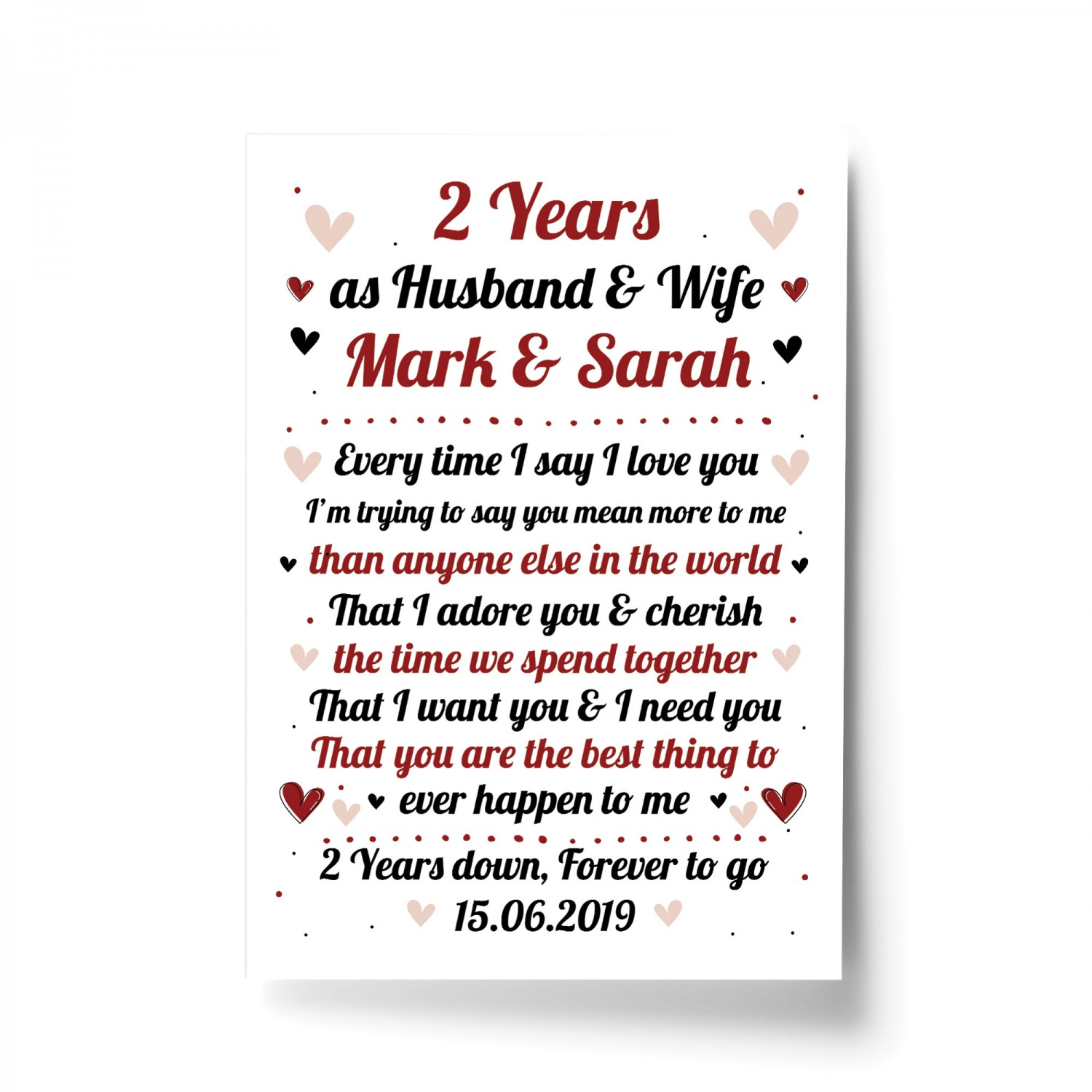 2nd Wedding Anniversary Gift For Husband Or Wife Print Keepsake