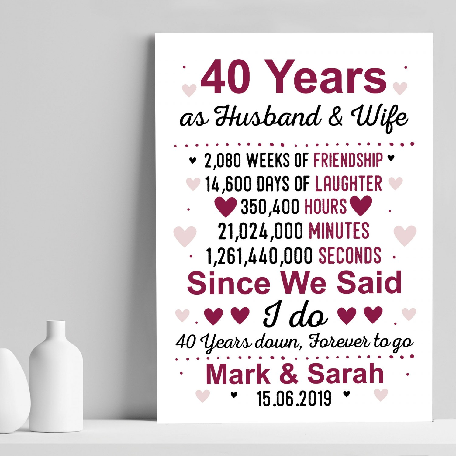 40th Wedding Anniversary Gift Ideas For Friends: 40th Anniversary Gift Personalised Print 40th Anniversary Card