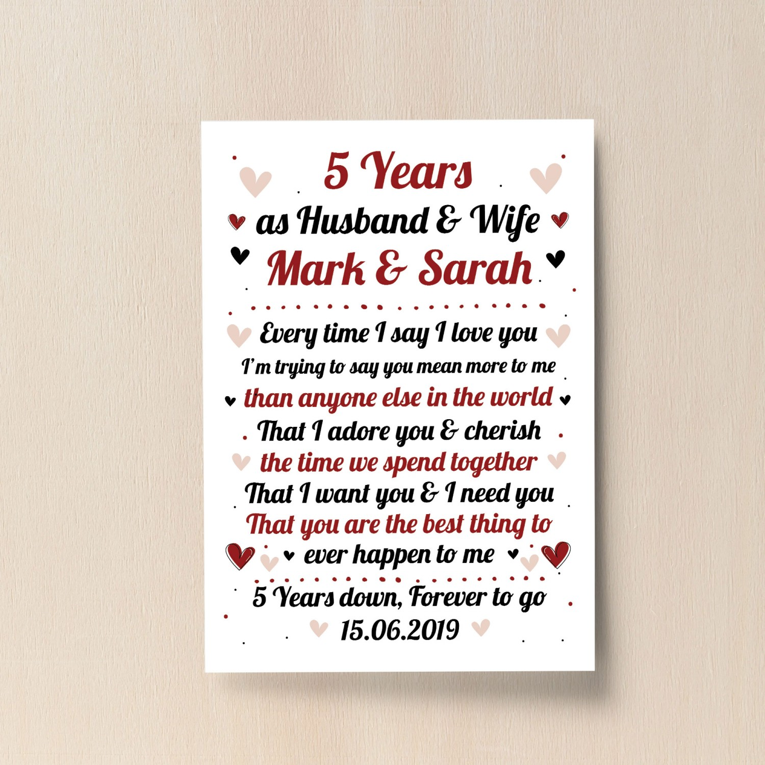 5th Wedding Anniversary Gift Ideas For Husband: 5th Wedding Anniversary Gift For Husband Or Wife Print