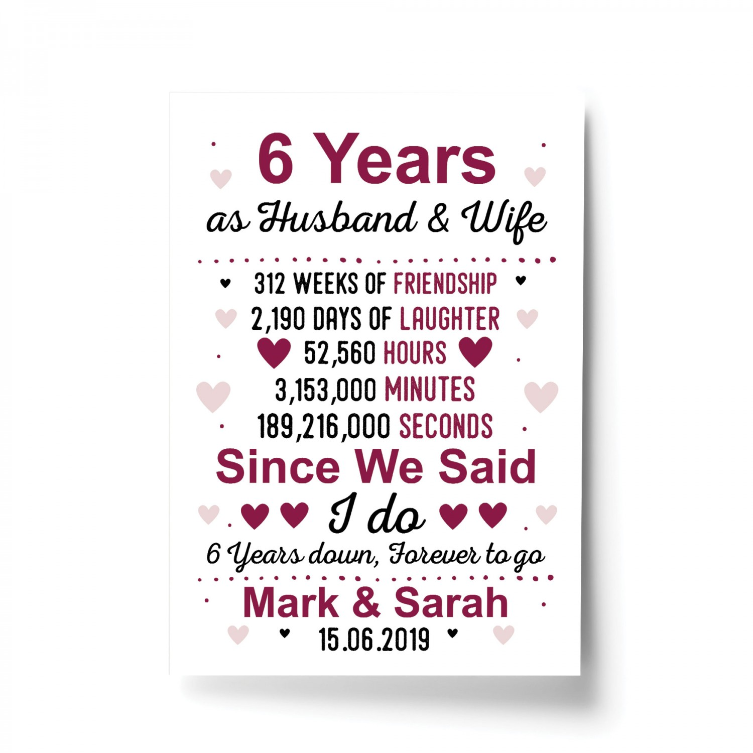 6th Anniversary Gift Personalised Print 6th Anniversary Card