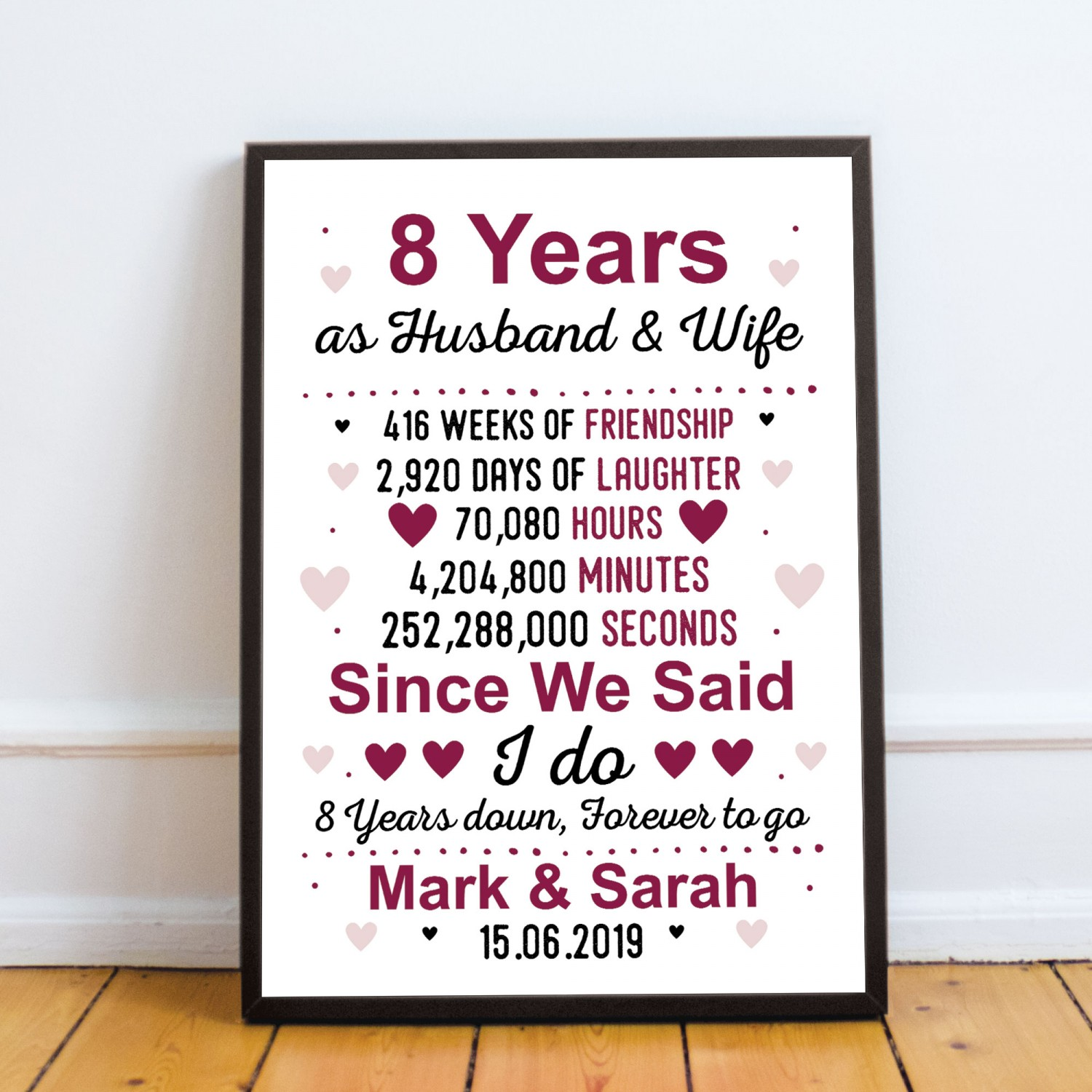 8th Anniversary Gift Personalised Framed Print 8th Anniversary