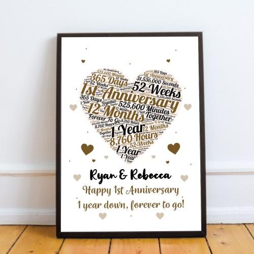 1st Anniversary Gift Wedding Anniversary Gift For Husband Wife