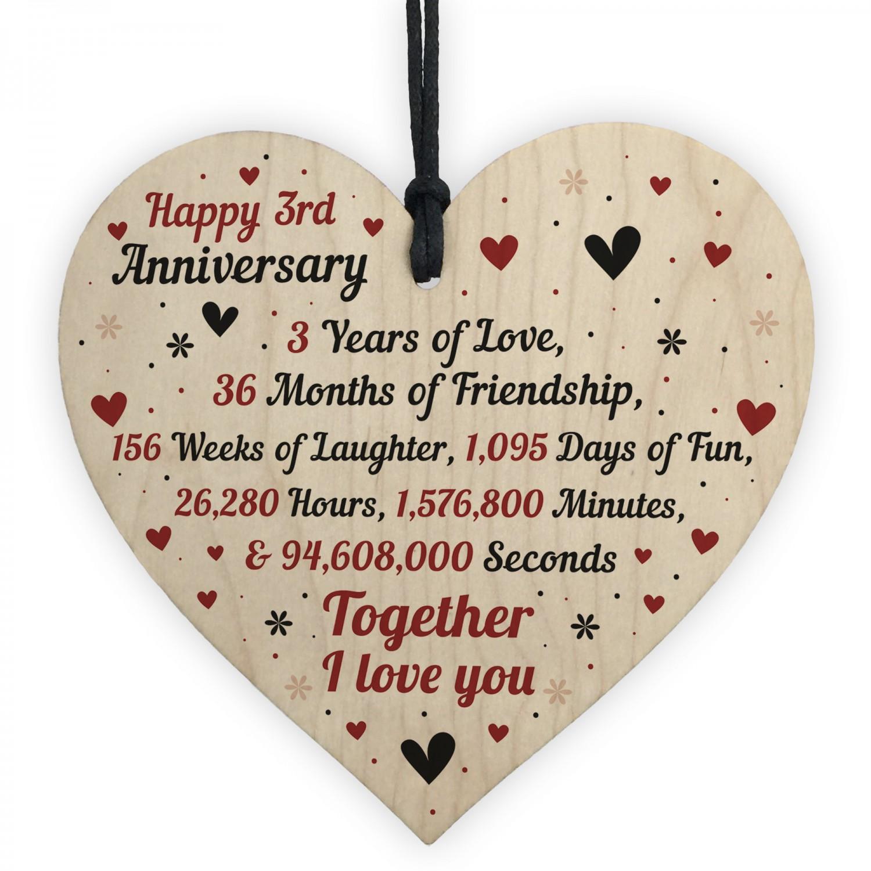 3rd Wedding Anniversary Gift For Him Her Wood Heart Keepsake