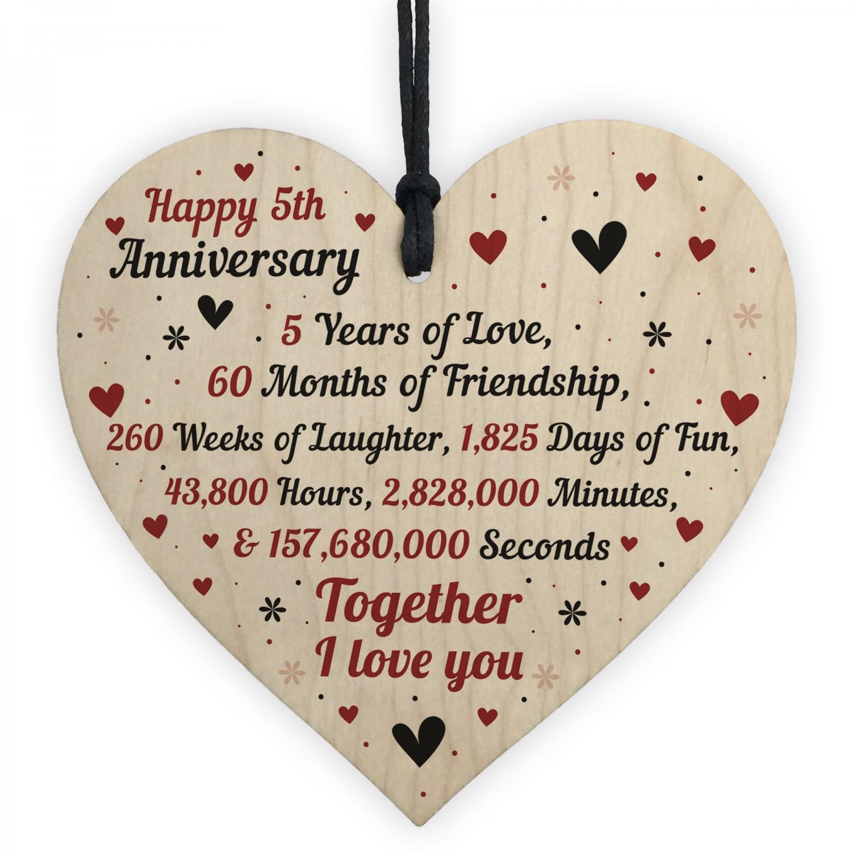 5th Wedding Anniversary Gift For Him Her Wood Heart Keepsake