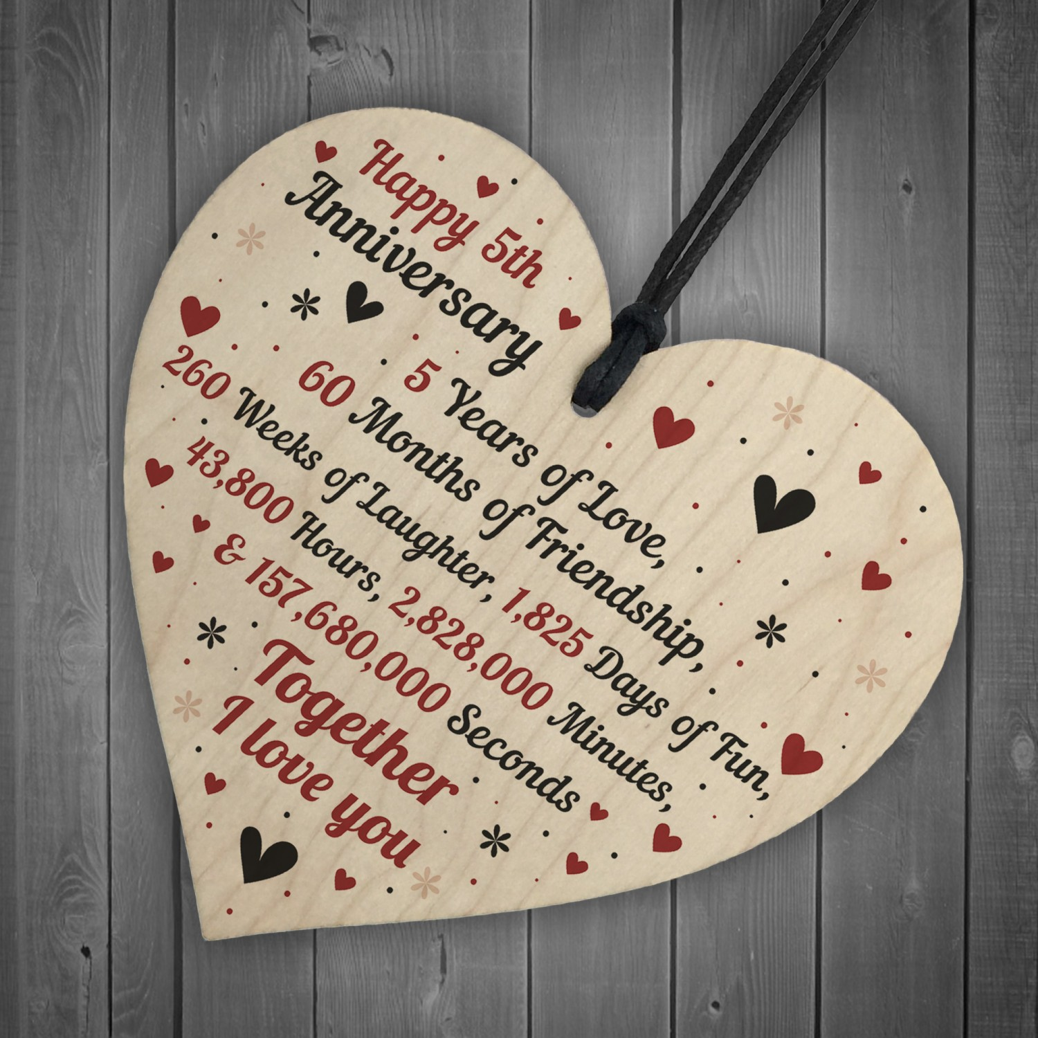 Wedding Anniversary Gifts For Her: 5th Wedding Anniversary Gift For Him Her Wood Heart Keepsake