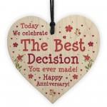 1st 2nd 5th 10th Anniversary Wooden Heart Husband Wife Boyfriend