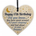 17th Birthday Card For Daughter Son Wood Heart Novelty 17th Gift
