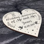 10th Tin Wedding Anniversary Gift Personalised Heart Mr & Mrs
