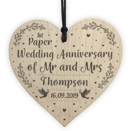 1st Paper Wedding Anniversary Gift Personalised Heart Mr & Mrs