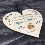1st Christmas In Our New Home Personalised Wood Heart Tree Decor