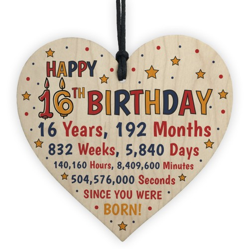 16th Birthday Gift For Daughter Son Wood Hanging Heart Sixteenth