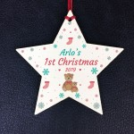 Baby 1st Christmas Gift Personalised Wooden Star Boy Girl Gift