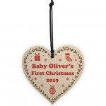 1st Christmas Gift For Baby Personalised Wooden Heart Tree Decor