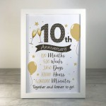 10th Anniversary Gift For Couple Anniversary Gift For Him Her