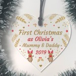 1st Christmas Decoration Personalised Mummy And Daddy Heart Xmas