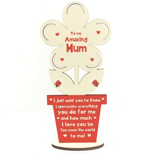 Thank You Gift For Mum Birthday Wooden Flower Gift For Her