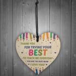 Thank You Gift For Mum Wood Heart Home School Teacher Gift