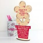 Best Friend Birthday Gift Thankyou Wood Flower Friendship Plaq