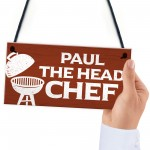 Personalised Head Chef BBQ Barbecue Sign Novelty Garden Plaque