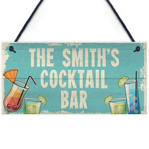 Personalised Cocktail Home Bar Sign Novelty Alcohol Gifts Garden
