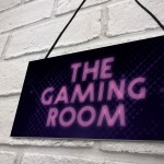 GAMING ROOM Sign Neon Effect Hanging Games Room Man Cave