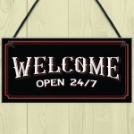 Bar Welcome Hanging Sign For Home Bar Man Cave Garden Decor