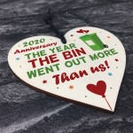 Funny Anniversary Lockdown Gifts Wooden Heart Gift For Boyfriend