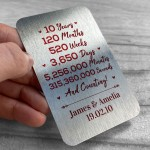 10th Anniversary Gift For Husband Wife Metal Card Personalised