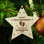 Baby's First Christmas Personalised Bauble Tree Decoration Wood