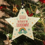 2020 Lockdown Wooden Christmas Bauble Decoration Family Xmas