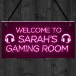 Pink Gaming Room Sign Funny Gift For Daughter Girlfriend
