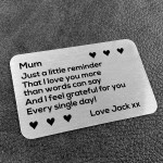 Thank You Gift For Mum Personalised Wallet Insert Birthday Xmas