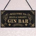 Vintage Gin Bar Sign For Garden Home Bar Personalised Bar Decor