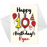10th Birthday Card Boy Girl Personalised Card For Son Daughter