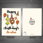 16th Birthday Card Boy Girl Personalised Card For Son Daughter