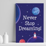 Space Theme Print For Boys Bedroom Cute Quote Wall Art Gift