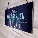 Beer Garden Sign Personalised Hanging Garage Pub Shed Sign Beer