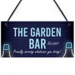 The Garden Bar Sign Personalised Hanging Home Bar Garden Sign