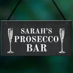Prosecco Bar Sign Shabby Personalised Home Bar Garden Sign