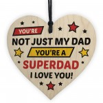 Novelty Dad Gift For Fathers Day Wood Heart Superhero Theme
