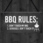 BBQ Rules Sign Hanging Door Wall Shed Sign Garden Sign