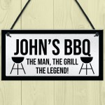 BBQ Sign For Outdoor Personalised Funny Garden Sign Gift For Men