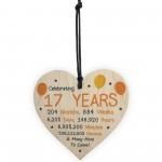 17th Birthday Novelty Wooden Heart Gift For Son Daughter Brother
