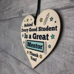 Thank You Gift For MENTOR Wood Heart Teacher Friendship Gift