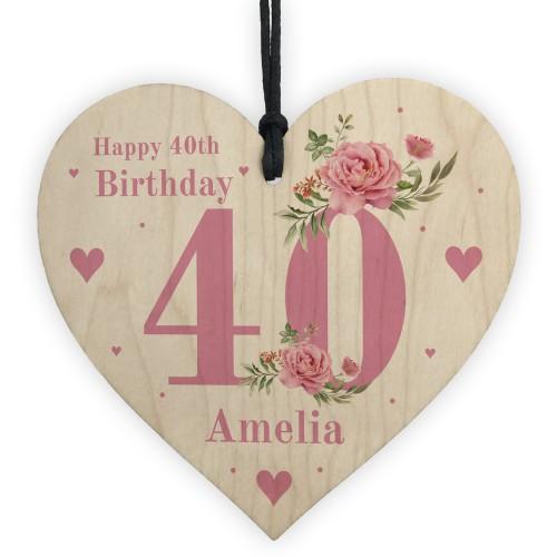 Personalised 40th Birthday Card Mum Sister Auntie Friend Heart