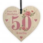 Personalised 50th Birthday Card Mum Sister Auntie Friend Heart