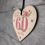 Personalised 60th Birthday Card Mum Sister Auntie Friend Heart