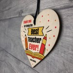 Fun Gift For Teacher Wood Heart Personalised Thank You Leaving