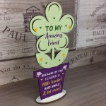 Special Gift For Best Friend Wood Flower Friendship Plaque